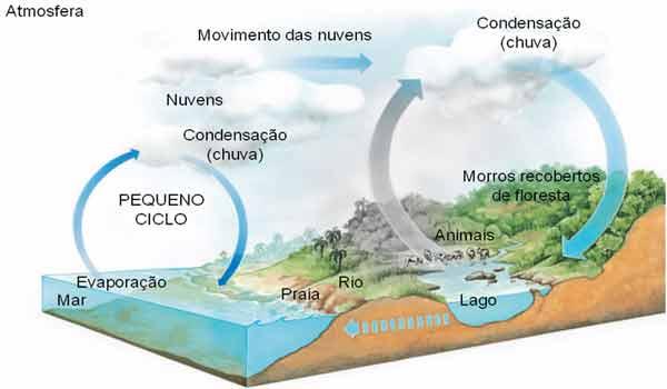 fases do ciclo da água